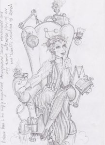 Sketch of Steampunk/Victorian Anna
